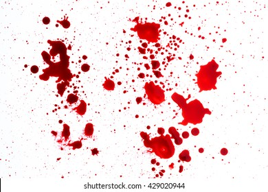 blood splatter on white background.