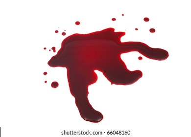 blood stain closeup isolated on white background