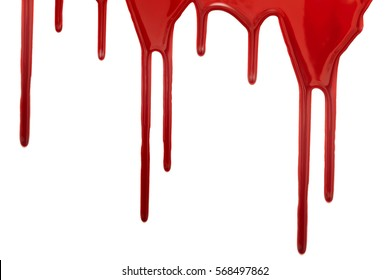 Blood stains isolated on a white background closeup
