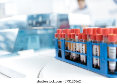 Blood test. Cropped closeup of blood test tubes arranged on a tray at the laboratory copyspace hematology medical healthcare analysis hospital expertise research biology hematology immunity virus