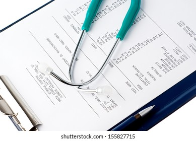 Blood test results with a clipboard