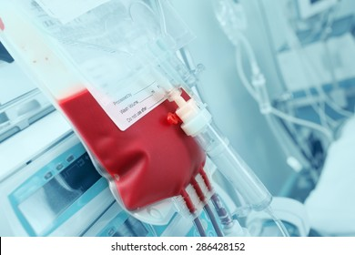 Blood for transfusion on a background of intensive care units equipment
