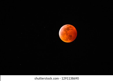 The blood wolf moon eclipse viewed from Utah, USA.