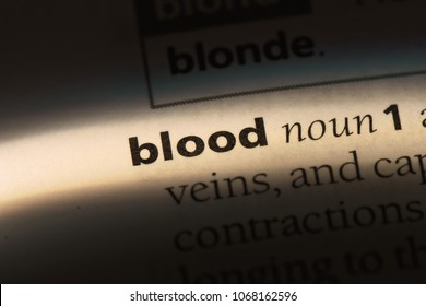 blood word in a dictionary. blood concept.