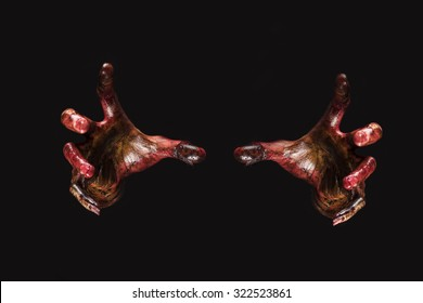 Blood zombie hands on back background,zombie theme, halloween theme