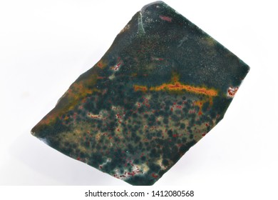 Bloodstone Mineral Specimen closeup on white background