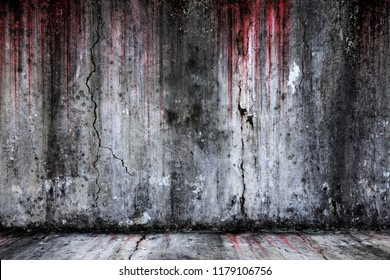 Bloody background scary old cement wall and floor, concept of horror and Halloween