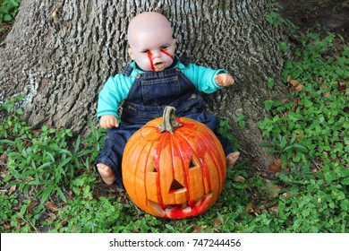 Bloody Boy Doll and Pumpkin