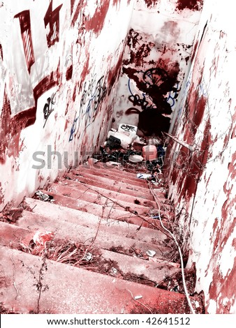 Bloody Crime Scene Dangerous Bloody Stairs Stock Photo ...