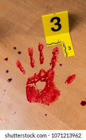 Bloody crime scene with evidence markers