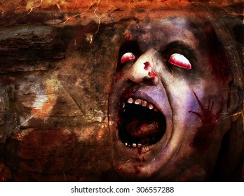 Bloody deformed head for Halloween