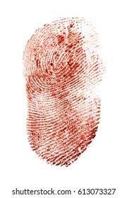 Bloody fingerprint on a white background