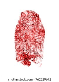 Bloody fingerprint on a white background