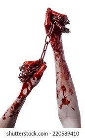 bloody hand holding chain, bloody chain, halloween theme, white background, isolated, killer, fan, crazy