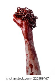 bloody hand holding chain, halloween theme, white background, isolated, killer, fan, crazy