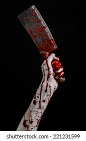Bloody hand holding a large knife for meat, a bloody knife, chef killer, fear, horror, Halloween theme, a zombie theme, black background, isolated, killer with a knife