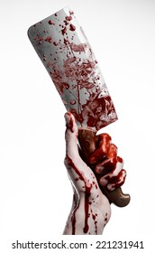 Bloody hand holding a large knife for meat, a bloody knife, chef killer, fear, horror, Halloween theme, a zombie theme, white background, isolated, killer with a knife