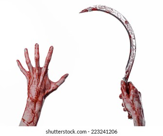 Bloody Hand Holding Sickle Sickle Bloody Stock Photo (Edit