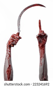 bloody hand holding a sickle, sickle bloody, bloody scythe, bloody theme, halloween theme, white background, isolated, killer, psycho, thug, a bloody knife, bloody hands of zombies, cutthroat