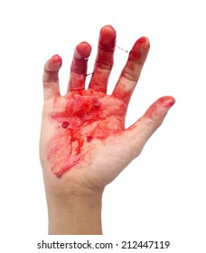 Bloody hand on white background.