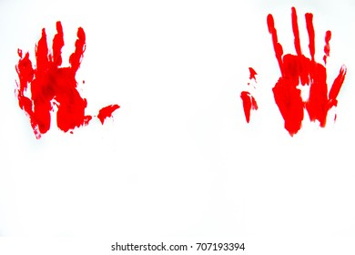 Bloody hand print isolated on white background. Horror scary blood dirty handprint and fingerprint. Halloween.