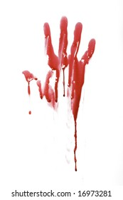 Bloody handprint with drip pattern isolated on a white background
