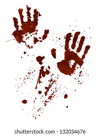 Bloody hand-prints isolated on White