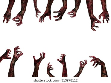 Bloody hands background, maniac, Blood zombie hands, zombie theme, Halloween theme zombi horror scary death isolate hands ghost on white background