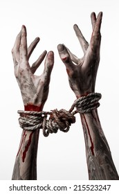 bloody hands bound, mud, rope, on a white background, isolated, kidnapping, zombie, demon
