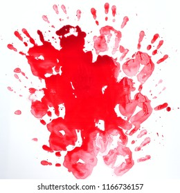 Bloody hands on a white background