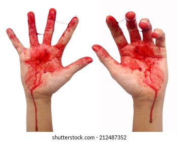 Bloody hands on white background.
