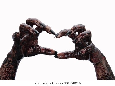 Bloody hands on a white background, zombie, demon, maniac, isolated on terror,halloween theme