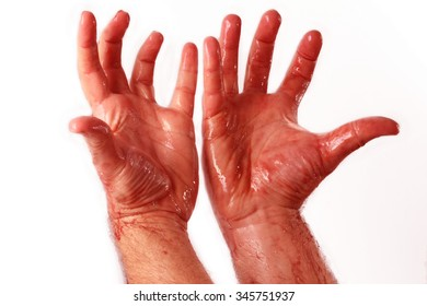 bloody hands stained with blood