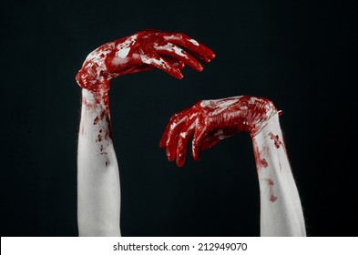 Bloody hands in white gloves, a scalpel, a nail, black background, zombie, demon, maniac