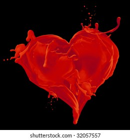 bloody heart on black background