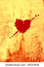 Bloody heart on old paper