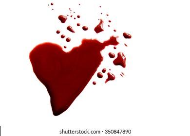 Bloody heart shape puddle (splatter) isolated on white background