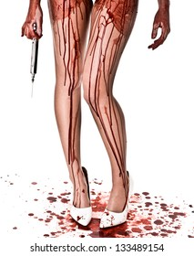 Bloody Legs with Large Syringe and white heels