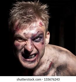 Bloody maniac in dark
