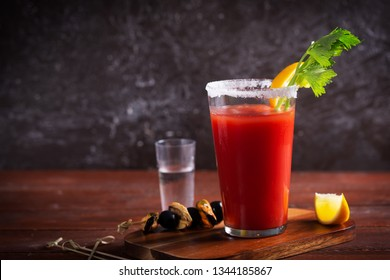 Bloody Mary is a cocktail containing vodka, some tomato juice, different spices and flavorings, such as Worcestershire sauce, hot sauces, celery