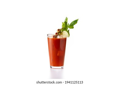 Bloody Mary cocktail in glass isolated on white background