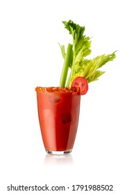 Bloody Mary cocktail with vodka, lemon and tomato juice, tabasco sauce and ice cubes decorated with celery leaves and red pepper glass rim isolated on white background