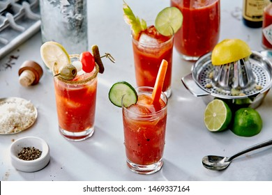 Bloody Mary drinks with lemon and lime