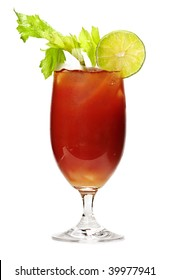 Bloody mary in glass isolated on white background with celery stalk