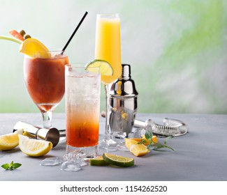 Bloody Mary and mimosa, breakfast or brunch cocktails variety