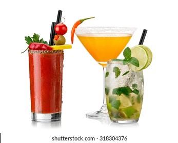 Bloody mary, mojito and chilli martini cocktails