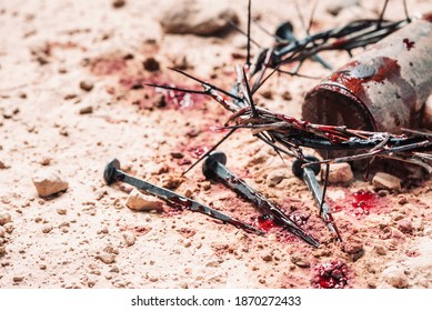 Bloody nails, crown of thorns with drops of blood over grunged background. Good Friday, Passion of Jesus Christ. Christian Easter holiday. Crucifixion, resurrection of Jesus Christ. Gospel, salvation.