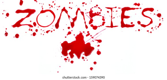 Bloody print on a white background with the letters ZOMBIES