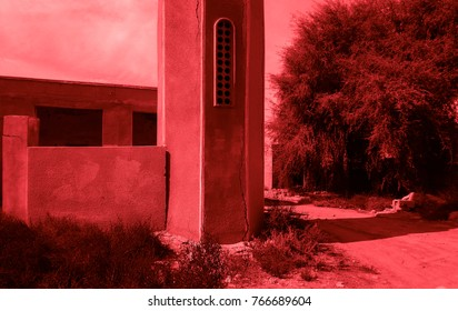 Bloody red colored abandoned ghost city Al Jazirah Al Hamra. Ras al-Khaimah. The oldest town in United Arab Emirates. Arabian peninsula