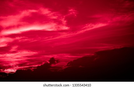 Bloody red light and black clouds